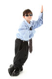 Adorable Boy in Baggy Suit Royalty Free Stock Photography