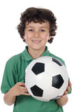 Adorable boy with ball of footboll Stock Photos