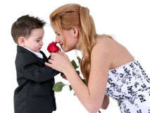 Adorable Boy,  Beautiful Girl, Lovely Rose Royalty Free Stock Photo