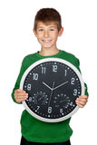 Adorable boy with a big clock Stock Photography