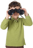 Adorable boy with binoculars Stock Photos