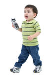 Adorable Boy Bring Phone To Mom Over White.  Royalty Free Stock Images
