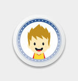 Adorable boy cartoon character label Royalty Free Stock Photography