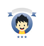 Adorable boy cartoon character label Stock Image