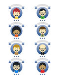 Adorable boy cartoon character label Royalty Free Stock Images