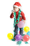 Adorable boy in Christmas. A small boy to adorning his arbol of Christmas so that santa claus comes with the gifts Royalty Free Stock Image