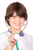 Adorable boy with clothes of doctor isolated on wh Royalty Free Stock Images