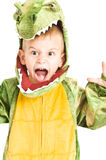 Adorable boy in crocodile costume Stock Images