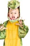 Adorable boy in crocodile costume Stock Image