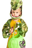 Adorable boy in crocodile costume Stock Image
