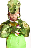 Adorable boy in crocodile costume Stock Photos