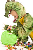Adorable boy in crocodile costume Royalty Free Stock Photography