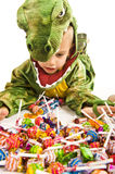 Adorable boy in crocodile costume Royalty Free Stock Photo