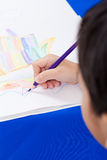 Adorable boy drawing picture Royalty Free Stock Photo