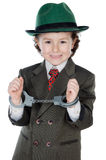 Adorable boy dressed gangster Stock Photos
