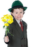 Adorable boy with flowers Royalty Free Stock Photo