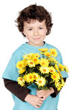 Adorable boy with flowers Royalty Free Stock Images