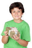Adorable boy with a gift Royalty Free Stock Image