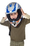 Adorable boy with a helmet in the head Stock Photography