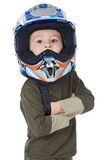Adorable boy with a helmet in the head Royalty Free Stock Images