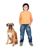 Adorable boy and his dog Royalty Free Stock Photo