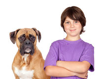 Adorable boy and his dog. Isolated on white background royalty free stock photos