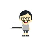 Adorable boy with laptop cartoon character Stock Images