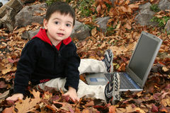 Adorable Boy In Leaves with Laptop Royalty Free Stock Photo