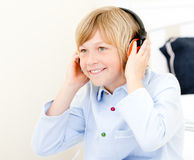 Adorable boy listening music Royalty Free Stock Image