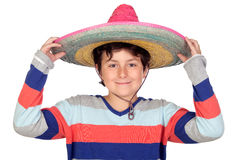Adorable boy with a Mexican hat. Isolated on a over white background Royalty Free Stock Photography