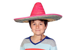 Adorable boy with a Mexican hat. Isolated on a over white background Stock Photo
