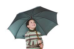 Adorable boy with open umbrellas Royalty Free Stock Image