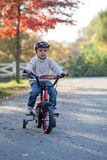 Adorable boy in the park, with his bike, learning to ride Royalty Free Stock Image