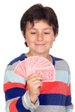 Adorable boy playing cards Royalty Free Stock Photo