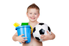 Adorable boy playing with toy for the beach Royalty Free Stock Photography