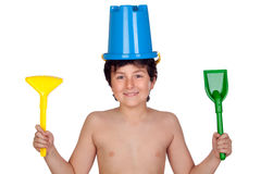 Adorable boy playing with toy for the beach Stock Images