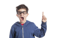 Adorable boy pointing up Royalty Free Stock Image