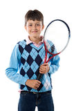 Adorable boy with racket of tennis Royalty Free Stock Photos
