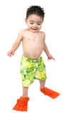 Adorable Boy Ready To Swim In His Bright Orange Flippers