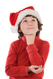 Adorable boy with red hat of Christmas Stock Image