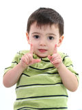 Adorable Boy Showing How Big With His Fingers Royalty Free Stock Images