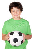 Adorable boy with a soccer ball Stock Images