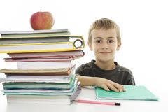 Adorable boy studying Stock Image