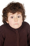 Adorable boy with surprise gesture. A over white background Stock Images