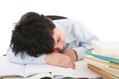 Adorable boy tired to study Stock Images