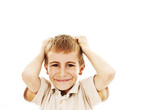 Adorable boy upset Royalty Free Stock Photo