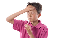 Adorable boy whit thermometer Royalty Free Stock Photo