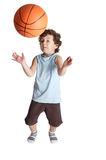 Adorable boy who almost receives a blow from a ball in the nose Stock Images