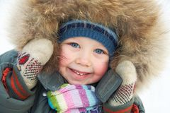 Adorable boy in winter Royalty Free Stock Photos