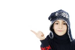 Adorable boy in winter clothes. Stock Photo